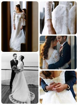 Tulle and Lace Long-Sleeved Wedding Dress